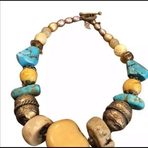 Stephen Dweck Natural Turquoise and Bones Necklace